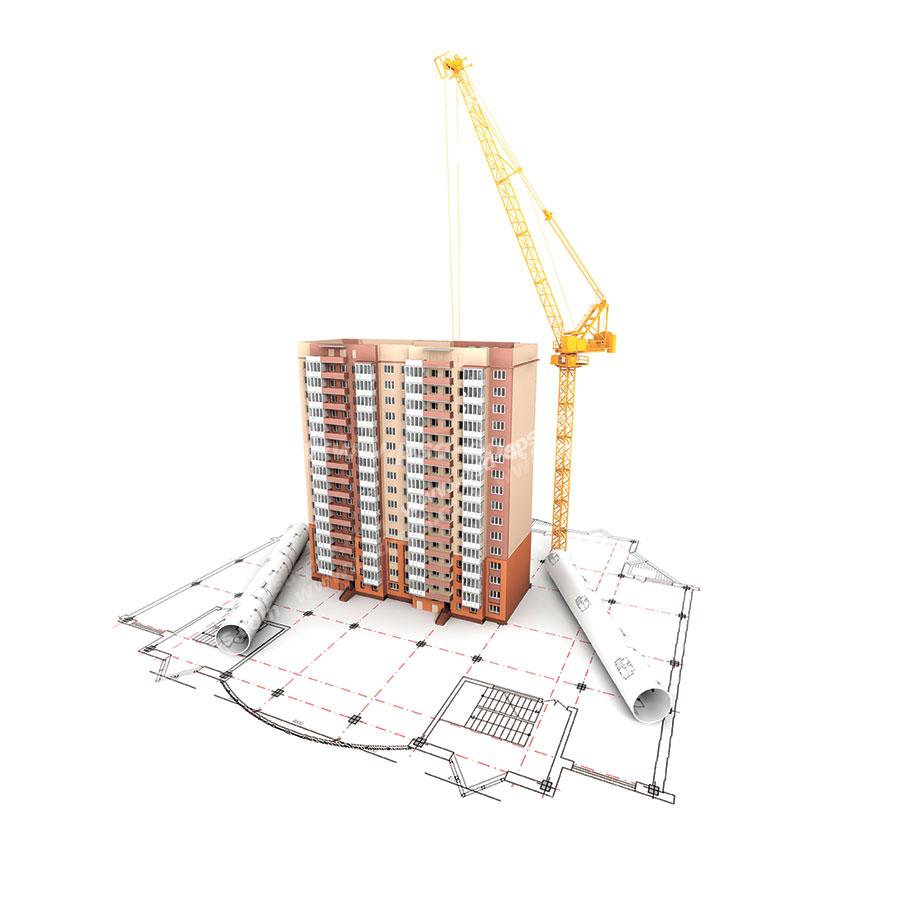 عکس با کیفیت ماکت سه بعدی یا تری دی آپارتمان مسکونی در کنار تاور کرین و بر روی نقشه و پلان ساختمان