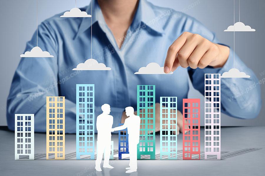 عکس با کیفیت ماکت های آپارتمان و روابط اجتماعی بین افراد و تصویری نمادین از ارتباط افراد در جامعه مدرن و کنونی