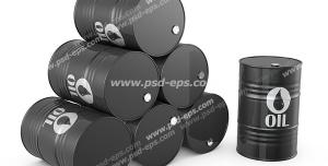 عکس با کیفیت بشکه های سیاه نفت چیده شده بر روی هم و یک بشکه ایستاده نفت با آیکون و علامت نفت
