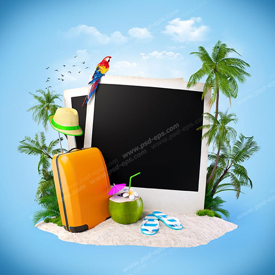 عکس با کیفیت فانتزی از جزیره ای با وسایل شخصی و تفریحی و چمدان و چند عدد عکس