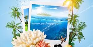 عکس با کیفیت فانتزی جزیره ای با مرجان و صدف و لوازم غواصی و چند عدد عکس از مناظر جزیره با زمینه آسمان آبی