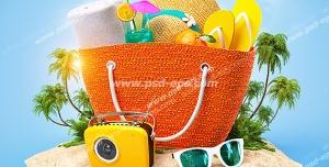 عکس با کیفیت فانتزی از جزیره ای با ساک حاوی وسایل شخصی ، کلاه آفتابی ، عینک آفتابی و دمپایی و رادیو