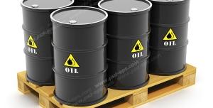 عکس با کیفیت بشکه های سیاه حاوی نفت در کنار هم و درون بسته بندی صادراتی یا وارداتی