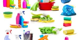عکس با کیفیت تصاویر مختلف از لوازم شوینده مانند اسفنج و فرچه و سطل و دستمال و دستکش و نایلون زباله و مواد شوینده