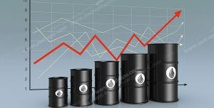 عکس با کیفیت نمادین بالا رفتن قیمت و ارزش نفت با نمودار خطی رو به بالا و بشکه های سیاه حاوی نفت