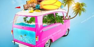 عکس با کیفیت فانتزی ون مسافرتی صورتی رنگ با جزیره و دریای قرار گرفته در درون آن به همراه چمدان ها و ساک های بسته شده