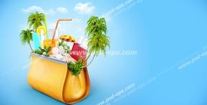 عکس با کیفیت فانتزی از کیفی کوچک حاوی جزیره ای تفریحی با نخل ها و لیموناد و پاسپورت