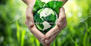 عکس با کیفیت نمادین رابطه انسان با طبیعت و زمین با تصویر کره زمین در دست انسان در کنار برگ درختان