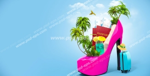 عکس با کیفیت فانتزی از کفش زنانه پاشنه بلند صورتی رنگ با چمدان و جزیره ای تفریحی همراه با پاسپورت و لیموناد قرار گرفته در آن