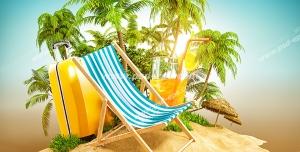 عکس با کیفیت فانتزی قسمتی از جزیره ای تفریحی با نخل های فراوان و صندلی تاشو و لیموناد و چمدان