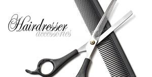 عکس با کیفیت لوازم اصلاح مو شامل شانه و قیچی پیتاژ مشکی رنگ با زمینه سفید