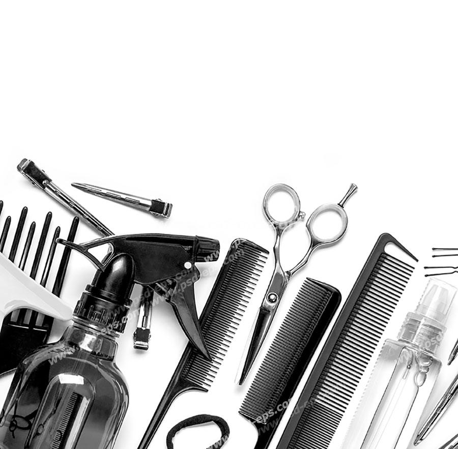 عکس با کیفیت لوازم اصلاح موی سر شامل انواع شانه و شانه پوش و برس ها ، قیچی ، آب پاش ، گیره ها و پنس و کش و سرم موی آبرسان چیده شده در کنار هم