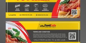 بلیط تخفیف یا تیکت یا کوپن لایه باز تبلیغاتی رستوران ها ، فست فودها و کترینگ ها با رنگ زرد و قرمز