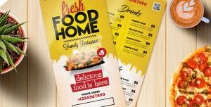 بروشور یک لت لایه باز تبلیغاتی با رنگ زرد و سفید با منوی غذا و تصویر فست فود مناسب رستوران های خانگی ، فست فودها و ساندویچی ها