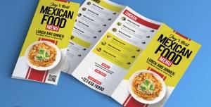 بروشور سه لت لایه باز تبلیغاتی با رنگ زرد و سفید با منوی غذا و تصویر بشقاب پاستا مناسب رستوران ها و فست فودها
