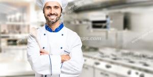 عکس با کیفیت آشپز در آشپزخانه مدرن