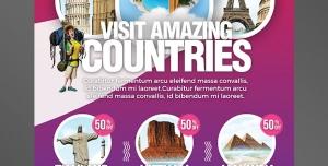 پوستر یا تراکت لایه باز تبلیغات تور کشورهای خارجی دارای مناطق دیدنی ، تفریحی و تاریخی در اروپا ، آفریقا ، امریکا و آسیا
