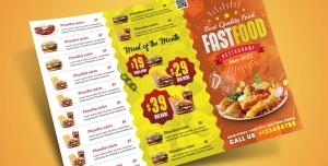 بروشور سه لت لایه باز تبلیغاتی فست فود یا ساندویچی یا رستوران با منوی تصویر ی غذا به رنگ زرد و نارنجی و سفید