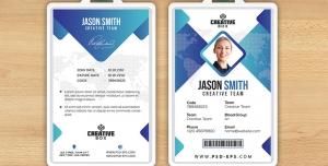 کارت شناسایی مسابقات هنری و بین المللی با طرح مثلثی یا آی دی کارت به رنگ های آبی و سفید لایه باز معرفی اعضای شرکت کننده در همایش ، جشنواره یا نمایشگاه