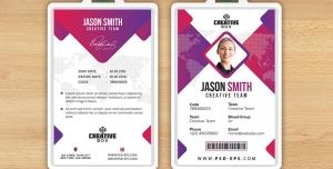 کارت شناسایی مسابقات هنری و بین المللی با طرح مثلثی یا آی دی کارت به رنگ های بنفش و سفید لایه باز معرفی اعضای شرکت کننده در همایش ، جشنواره یا نمایشگاه