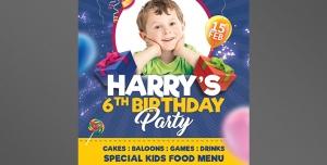 کارت دعوت یا تبریک تولد کودکان با رنگ آبی و بادکنک های رنگی و جعبه کادو با امکان درج تصویر کودک