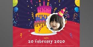 کارت دعوت یا تبریک تولد کودکان با رنگ قرمز و بنفش و بادکنک های رنگی و کیک سه طبقه و نقاشی حیوانات با امکان درج تصویر کودک