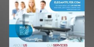 پوستر یا تراکت لایه باز تبلیغاتی مراکز درمانی و بیمارستانی یا درمانگاه و آزمایشگاه با تصویر پزشکان و دستگاه های پیشرفته درمانی و آزمایشگاهی