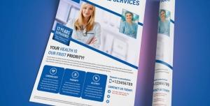 پوستر یا تراکت لایه باز تبلیغاتی با تصویر پزشک و پرستاران در بیمارستان دارای انواع خدمات درمانی