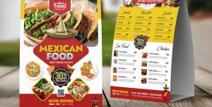 پوستر یا تراکت تبلیغاتی لایه باز تبلیغاتی رستوران غذاهای مکزیکی یا انواع فست فود با منوی غذاها