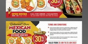 بلیط تخفیف یا تیکت تبلیغاتی لایه باز تبلیغاتی رستوران غذاهای مکزیکی یا انواع فست فود با انواع غذاها