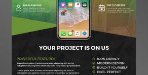تراکت یا پوستر لایه باز تبلیغاتی سبز و مشکی رنگ با تصویر گوشی همراه مناسب فروشگاه های انواع موبایل یا تعمیرات موبایل یا برنامه نویسی اندروید