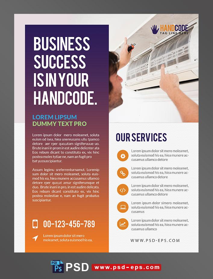 پوستر یا تراکت تبلیغاتی لایه باز ارتقای بازاریابی در زمینه مشاغل و حرفه های فنی و تعمیرات سیستم های تهویه مطبوع