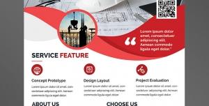 پوستر یا تراکت لایه باز تبلیغاتی نقشه کشی ساختمان با طرح کلاه سفید ایمنی مهندسین و نقشه ساختمان