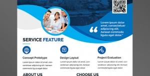 پوستر یا تراکت لایه باز تبلیغاتی شرکت های تجاری ، اداری یا بازرگانی در سطح بین المللی و مدرن با تصویر برج های بلند و گروه کاری کارمندان