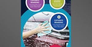 بنر استند یا رول آپ بنر لایه باز تبلیغاتی کارواش ماشین های مدرن با ارائه خدمات بهداشتی با تصویر شستشوی خودرو