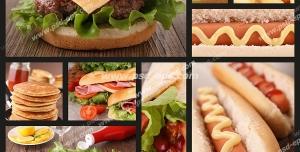 عکس با کیفیت ترکیبی از تصاویر ساندویچ همبرگر با مخلفات ، ساندویچ سوسیس ، ساندویچ کالباس ، سیب زمینی سوخاری ، پنکیک و ناگت مرغ