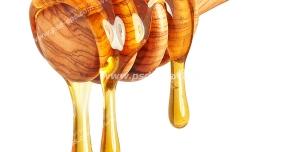 عکس با کیفیت یک قاشق چوبی آغشته به عسل