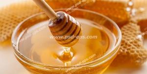 عکس با کیفیت ظرف عسل با قاشق چوبی عسل به همراه موم