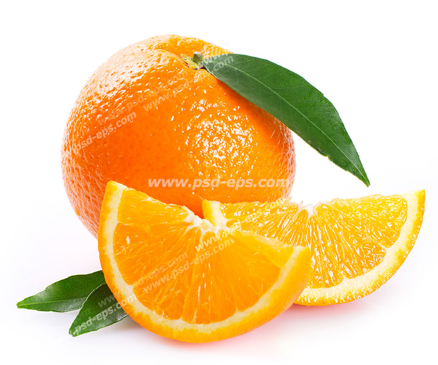 عکس با کیفیت پرتقال تازه با برگ درخت آن و برش هایی از آن