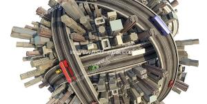 عکس با کیفیت کره زمین با برج های گوناگون و خیابان ها و بزرگراه ها