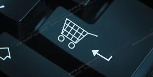 عکس با کیفیت نمادین خرید اینترنتی با دکمه Enter روی صفحه کلید یا کیبورد با علامت سبد خرید بر روی آن