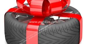 عکس با کیفیت با مضمون هدیه خودرو با تصویر تایر خودرو با روبان قرمز بسته شده روی آن