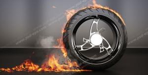 عکس با کیفیت با مضمون تایر مقاوم در برابر سرعت و گرما با تصویر تایر آتش گرفته در حال حرکت