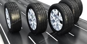 عکس با کیفیت پنج تایر در جاده خط کشی شده در حال حرکت با رینگ فابریک