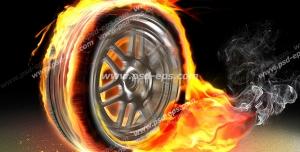 عکس با کیفیت تایر آتش گرفته با رینگ اسپرت در حال حرکت