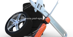 عکس با کیفیت نمادین جهت تعمیرات یا تعویض تایر یا لاستیک خودرو با تصویر تایرهای چیده شده در کنار آچار و پیچ گوشتی