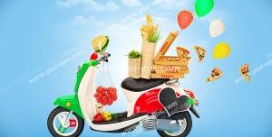 عکس با کیفیت موتور مخصوص پیک موتوری رستوران ها و فست فود ها با تعدادی پیتزا و مواد لازم برای تهیه آن