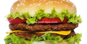 عکس با کیفیت ساندویچ همبرگر مخصوص با دو لایه همبرگر و دو لایه کاهو بر روی زمینه سفید