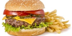 عکس با کیفیت ساندویچ همبرگر گوشت و قارچ با پنیر در کنار سیب زمینی سرخ کرده