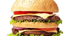 عکس با کیفیت ساندویچ همبرگر گوشت با پنیر با نان اضافه بر روی زمینه سفید